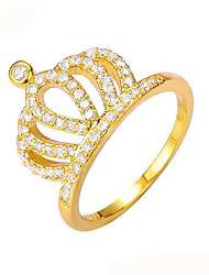 Gold Plated Rings Rhinestone Fashion Copper Crown Jewelry For Wedding Party Engagement Gift Valentine 1pc