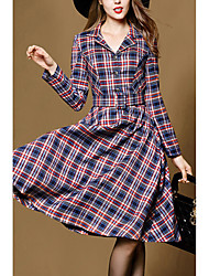 High-end 2017 Hitz big temperament long dress lapel classic plaid jacket