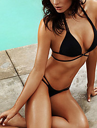 Bandeau Bikini,Solid Polyester