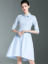 Work Cute A Line Dress,Solid Shirt Collar Above Knee Cotton Spring Summer Mid Rise Inelastic Medium
