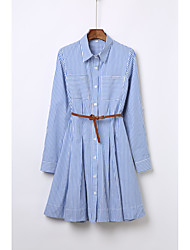 Women's Fine Stripe spring female star with blue and white striped long-sleeved dress shirt skirt bottoming a word skirt