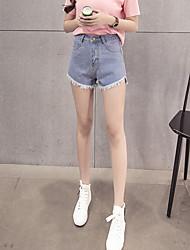 signer il y a des millions d'années grâce à des modèles de base coréen bord court poilue large short en jean jambe frangés marée femme