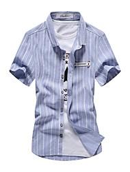 Для мужчин На каждый день Пляж Большие размеры Лето Рубашка Рубашечный воротник,Простое Уличный стиль Активный Однотонный ПолоскиС