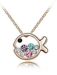 Women's Pendant Necklaces Crystal Animal Shape Chrome Cute Style Personalized Jewelry For Wedding Congratulations Gift 1pc