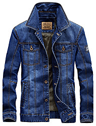 Men's Casual/Daily Vintage Simple Spring Denim Jacket,Solid Shirt Collar Long Sleeve Regular Cotton Polyester
