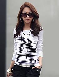 Damen Gestreift Einfarbig Einfach Lässig/Alltäglich T-shirt,Rundhalsausschnitt Kurzarm Baumwolle