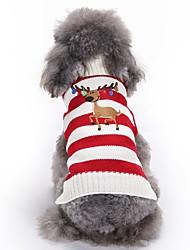 Коты Собаки Плащи Свитера Одежда для собак Зима Весна/осень Северный олень Милые Мода Рождество Зеленый Розовый