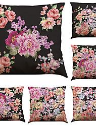 Set of 6 Beautiful Flowers  Pattern  Linen Pillowcase Sofa Home Decor Cushion Cover  Throw Pillow Case (18*18inch)