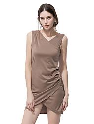 Trapèze Robe Femme Sortie Décontracté / Quotidien Plage simple Chic de Rue,Couleur Pleine Col en V Mini Sans Manches Coton Polyester