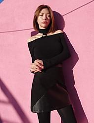 Estilo coreano elegante sexy strapless halter collar anillo de gran eslabón era delgada de manga larga t