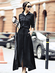 Women's Casual/Daily Simple Loose Dress,Solid Shirt Collar Maxi Long Sleeve Rayon Spring High Rise Inelastic Thin