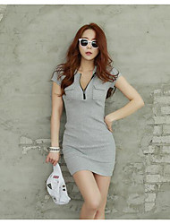 Summer Korean version of casual V-neck long section of the t-shirt female short-sleeved dress Slim thin package hip bottoming shirt