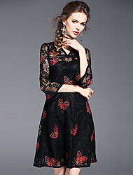 Really making the new spring 2017 women's V-neck lace dress temperament Slim elegant embroidered A-line skirt