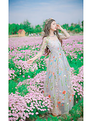 Sign autumn new Heavy embroidery net yarn stitching Slim round neck long-sleeved dress and long sections