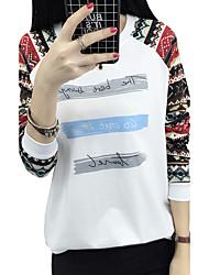 t-shirt Primavera sinal do sexo feminino nacional vento letras geométricas impressa em torno do pescoço t-shirt de manga comprida fina