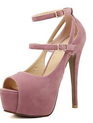 Damen-Sandalen-Lässig-PU-Stöckelabsatz-Fersenriemen-Rosa