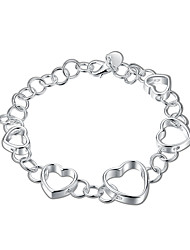 Silver Plated Sweet Heart to heart Chain & Link Bracelets Christmas Gifts Jewellery for Women Accessiories