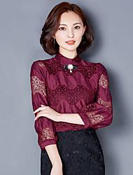 Véritable chemise en dentelle chemise à fond chemise femme automne 2016 mode culinaire chemise à manches chemise petite