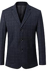 Men's Casual/Daily Work Vintage Simple Spring Fall BlazerColor Block V Neck Long Sleeve Regular Modal Wool 916612