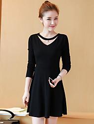 Sign 2017 spring women new Korean v-neck long-sleeved long section knit dress waist temperament