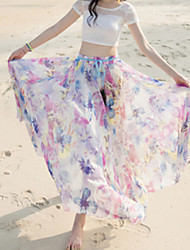 Women's Mid Rise Beach Holiday Maxi Skirts Swing Print Summer