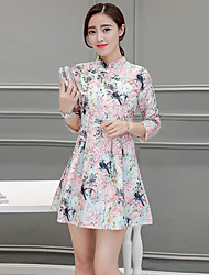 Sinal nova mulher coreano impressão manga melhor vestido cheongsam uma palavra saia e longas seções