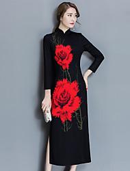 Sign # Chinese style improved cheongsam Slim retro long section of the new daily cheongsam dress skirt dress