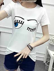 лето новый хлопка с коротким рукавом футболки Тонкий круглый шеи футболку женщины диких дна рубашку чистый белый сострадательной прилив