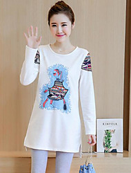 Autumn new female cotton ladies shirt Korean loose long-sleeved t-shirt printing T-shirt Girls long section