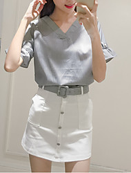Sign summer new V-neck halter blouse striped shirt + breasted skirt suit skirt package belt