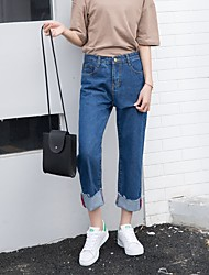 Sign Korea retro wild loose denim pantyhose curling wide leg pants basic models straight jeans female