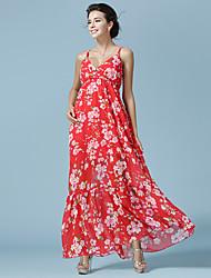 novo vestido de alça Verão era fino vestido de chiffon de férias mulheres vestido de praia praia
