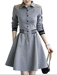 Women's Going out Simple A Line Dress,Striped Shirt Collar Above Knee Long Sleeve Rayon Spring Low Rise Micro-elastic Medium