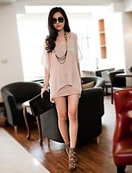 Tunique Robe Femme Plage Vacances Sortie Sexy simple Mignon,Couleur Pleine Col en U Mini ½ Manches Spandex Printemps Eté Taille Normale