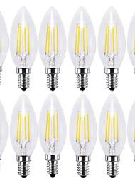 4w e14 led bombillas de filamento c35 4 cob 400 lm blanco cálido blanco fresco decorativo ac 220-240 v 12 piezas