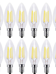 4W e14 lampadine a filamento c35 4 cob 400 lm bianco caldo bianco decorativo bianco 220-240 v 12 pezzi