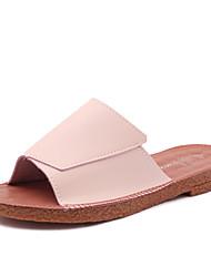Feminino-Chinelos e flip-flops-MaryJane-Rasteiro-Branco Preto Bege Rosa claro-Courino-Casual