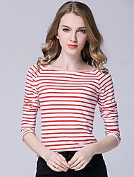 Damen Gestreift Einfach Lässig/Alltäglich T-shirt,Bateau Langarm Polyester