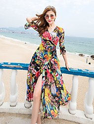 2017 new bohemian beach dress chiffon dress summer seaside resort big swing dress sub female