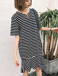 Sign spring and summer theatrical loose retro striped dress skirts