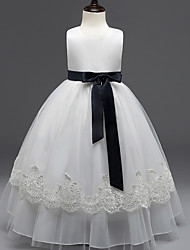 Princess Knee-length Flower Girl Dress - Cotton Organza Tulle Jewel with Appliques Sash / Ribbon