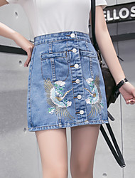 Sign in spring and summer 2017 new Korean women embroidered skirt skirts breasted denim skirt package