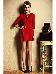 European and American high waist sleeve dress princess dress only red