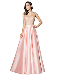 Formal Evening Dress Sheath / Column Scoop Floor-length Satin with Beading