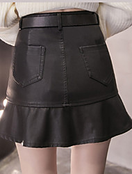 2016 derniers modèles jupe de cuir pu sauvage slim fine jupe de pêche à la jupe jupe jupe avec ceinture