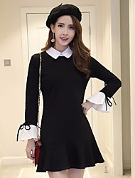 Women's Going out Cute A Line Trumpet/Mermaid Dress,Solid Shirt Collar Above Knee Long Sleeve Nylon Spring Mid Rise Micro-elastic Medium
