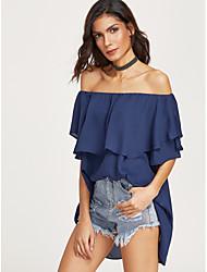 Aliexpress ebay2017 solta flounced colar de camisa de chiffon