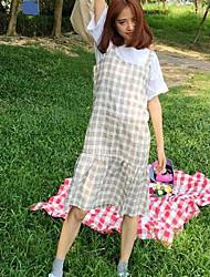 tir réel style collège professionnel sous-coton et lin jupe robe robe sans manches