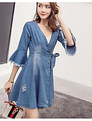 Women's Party Anniversary Engagement Casual/Daily Office & Career Dress Valentine's Day Festival Sexy A Line Dress,Solid Color Deep V