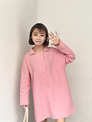 Sign pure color doll collar double two button cotton dress